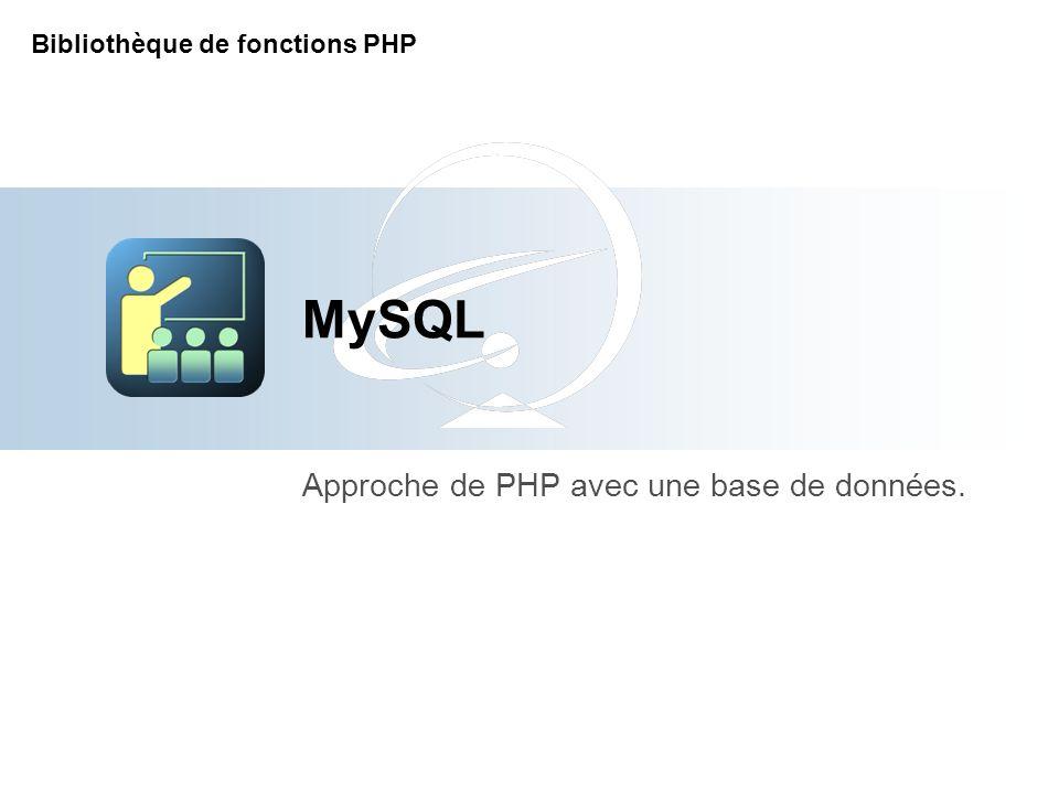 [Title of the course] Approche de PHP avec une base de données.